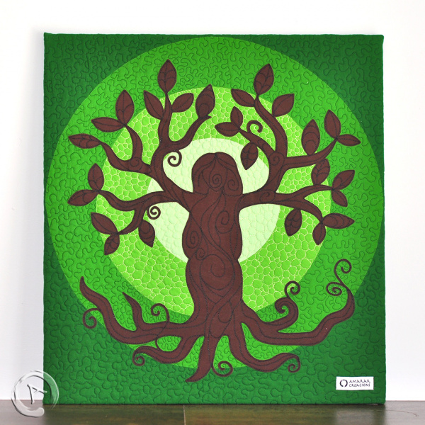 Quilt Art Tree of Life Green - Detail