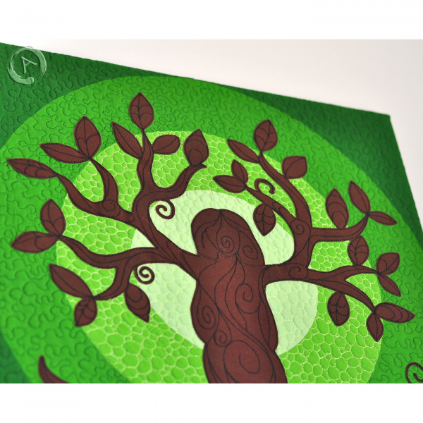 Quilt Art Tree of Life Green- Perpective2