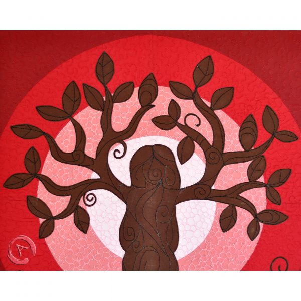 Quilt Art Tree of Life Red- Leaves