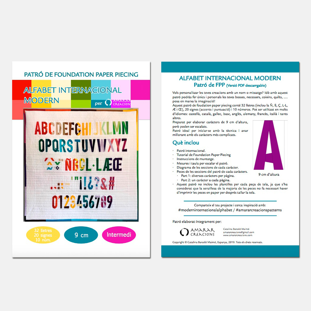 Foundation Paper Piecnig Pattern Modern Internacional Alphabet Amarar Creacions