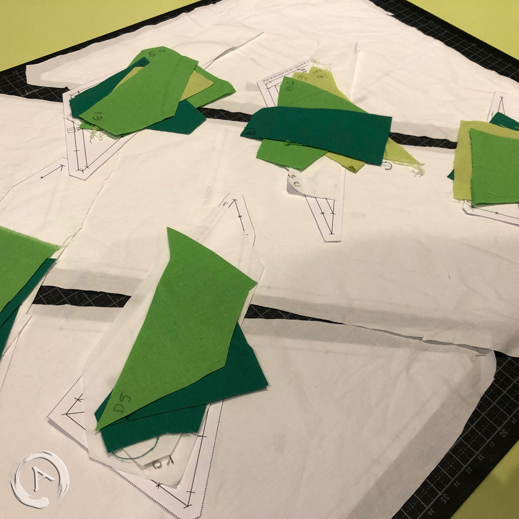 FPP Pattern - Origami Green Fish multic 16.5 FPP - Pieces