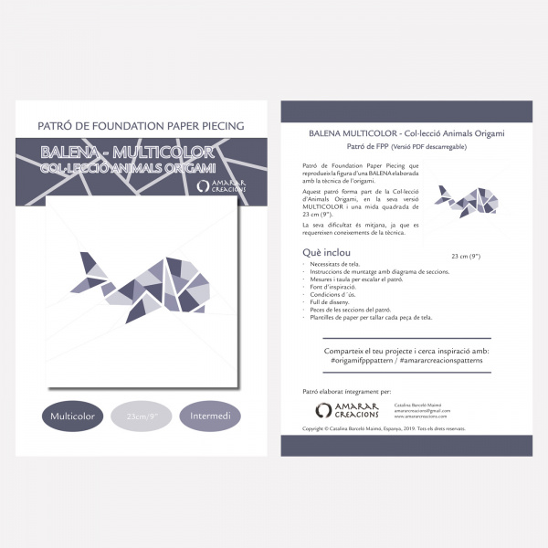 Portada-Foundation Paper Piecing-Balena-Multicoclor-9in-Catala
